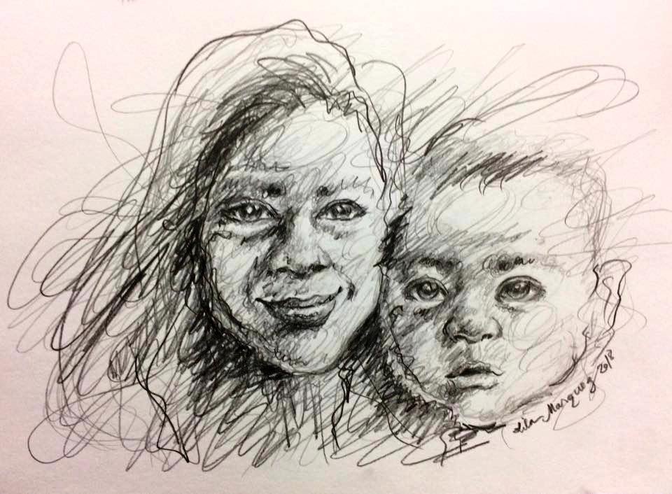Ali and Lila by Lila Marquez (pencil on paper, 2018)